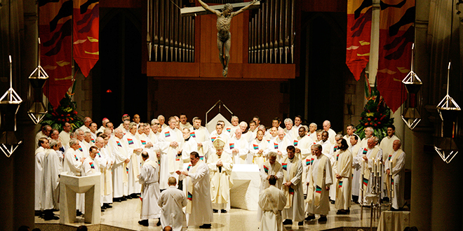 Priests' year: Priests in St Stephen's Cathedral, Brisbane. Pope Benedict says this Year for Priests is a time for the Church to thank God for the gifts they offer.