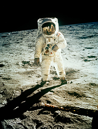 "Moon walk: This NASA photo shows astronaut Edwin ""Buzz"" Aldrin walking near the lunar module during the Apollo 11 landing mission. Picture: AAP/AP"