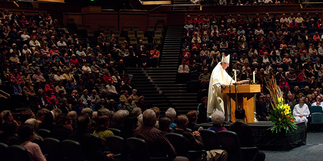 Irish guest: Archbishop Diarmuid Martin of Dublin preaches at the Sesquicentenary Mass of Thanksgiving at the Brisbane Convention and Exhibition Centre on July 30.