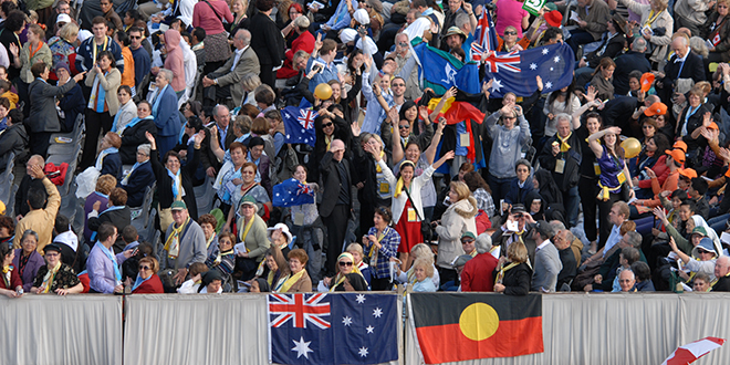 Aussie pilgrims: Some of the thousands of Australians in St Peter's Square for the canonisation ceremony