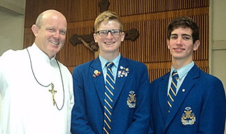 Supporting Catholic Mission: Marist Brother Mark Fordyce, Ben Perkins and Ted Makowski at St Ambrose's, Newmarket, where they spoke in support of the work of Catholic Mission