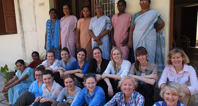 Making a difference: Sarah Miller (middle row fourth from left), outside Nano Nagle Playschool, Kanagamma Chattram, India, was determined to help children in the remote village get to school