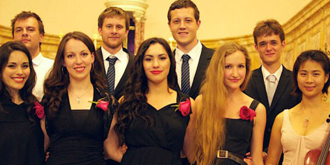 Sacred tour: Some members of Prima Luce from a performance of Catholic hymns that will feature on the tour