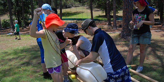 No kidding: Vinnies kids and volunteers working together at the first Kids' Camp for 2013