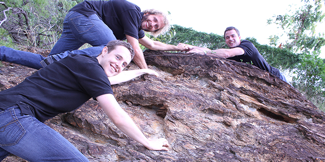 Climbing to the top: Nathan Costin (front), Abraham Hewitt (centre) and Dave Powick, members of Frassati Australia, will follow in the footsteps of Blessed Pier Giorgio Frassati for the next two weeks