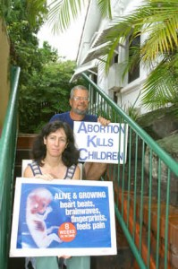 Protect Life members Anne Rampa and Graham Preston during a sit-in at an abortion clinic
