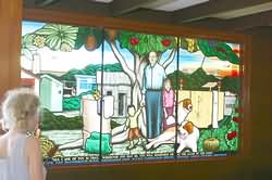 Stained glass memorial to priest