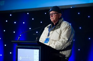 Words of encouragement: Queensland's St Vincent de Paul Society president Brian Moore addresses the 176 chief executive officers at the Queensland St Vincent de Paul Society's recent CEO Winter Sleepout at South Bank.