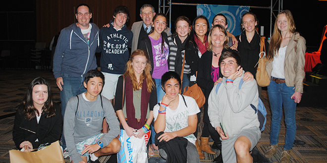 WYD event: Christian Brother Damien Price (back third from left) is with young people taking part in the Brisbane World Youth Day event on July 28.