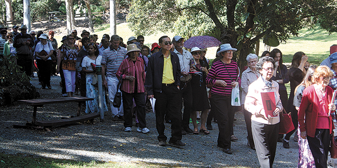 A large crowd participated in the Eucharistic procession as part of the celebration for the Feast of the Nativity of Our Lady.