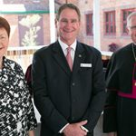 Brisbane Catholic Education executive director Pam Betts, principal Mark Stower and Archbishop Mark Coleridge after the opening of the new merged Mt Maria College campus.