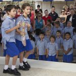 Presentation: Students from Good Shepherd Primary School, Springfield Lakes, during the opening.