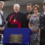 Day to remember: State Member for Algester Anthony Shorten joins Fr Mauro Conte, Archbishop Mark Coleridge, foundation principal Judith Seery and Pam Betts for the unveiling of the plaque to officially open Good Shepherd School.
