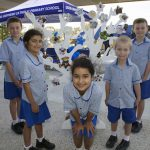 Good Shepherd Catholic Primary School Springfield Lakes students Matthew Senica, Lucy Gelderbloem, Beth Gelderbloem, Brock Rossiter and Max Senica at the opening and blessing of their school.