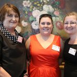 Julie Burkett, from San Sisto College; St Vincent de Paul Society Queensland youth manager Cassandra Bull and Susan Boban, from San Sisto College.