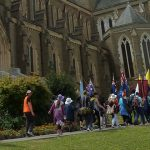 Pilgrims make their way into Sacred Heart Cathedral, Bendigo at the end of the annual Christus Rex pilgrimage