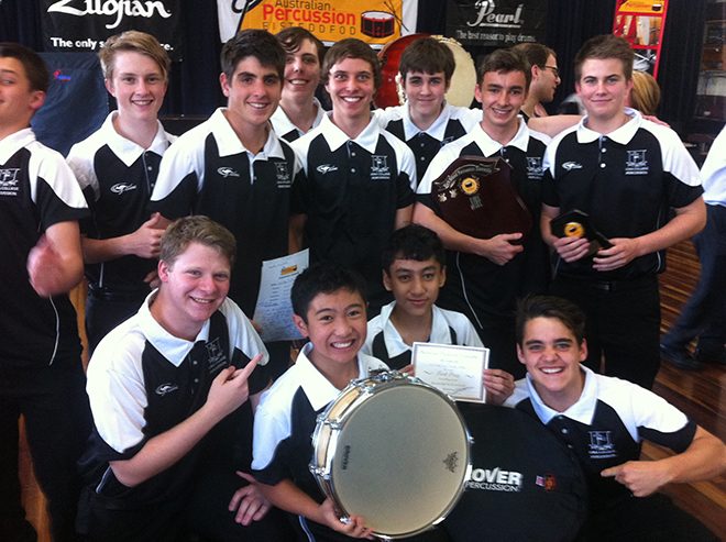 Iona percussion ensemble with the award after the presentation ceremony.