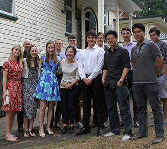 Lobezno after his reception into the Church with friends from the University of Queensland Newman Society.