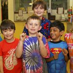 Students Alicia Hassed, Henry Teall, Toby Everett, Sid Balasubramanian and Neive McPhee dressed in their loudest shirts to help deaf children like Cameron McPhee