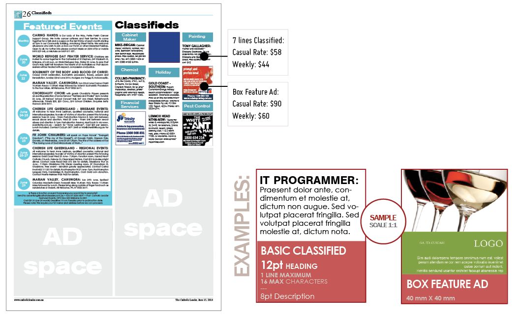 Classifieds - Sizes and positioning