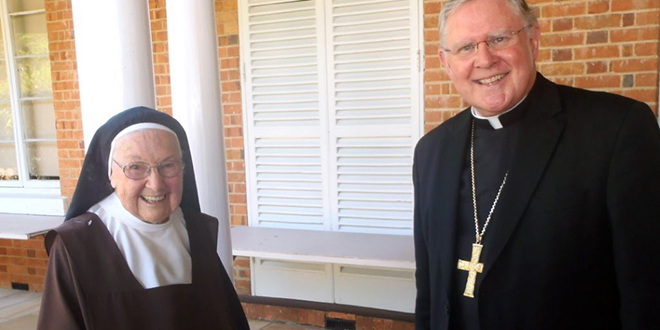 Sister Marcella celebrates 60 years as a Carmelite with Archbishop Mark Coleridge, family and friends.