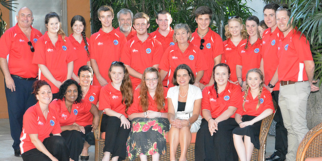 Staff and students from Southern Cross Catholic College with Australian High Commissioner to Sri Lanka Robyn Mudie.