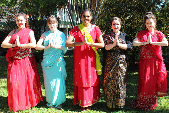 Year 12 students from St Patrick's College Townsville don colorful dress to support the works of Sisters of Mercy.