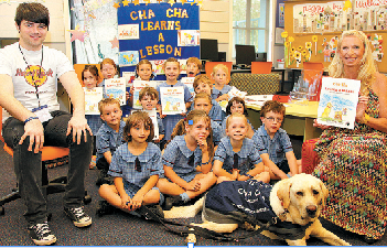 Cha Cha makes some new friends at St Columba's, Wilston
