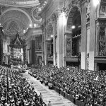 Pope John XXIII leads the opening session of the Second Vatican Council in St Peter's Basilica