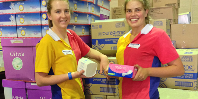 Lending a hand: Stuartholme College students volunteering at Homeless Connect, an initiative of Brisbane City Council held at RNA Showgrounds.