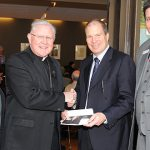Patrice and James McKay with Archbishop Mark Coleridge (second from left) and Peter de Keratry (right) at a reception for donors at the Francis Rush Centre during the Annual Catholic Campaign.