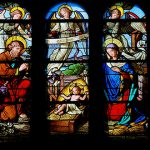 Stained glass window nativity scene