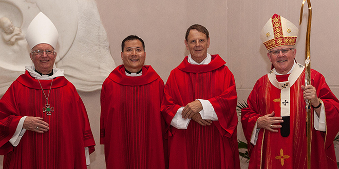 After the ordination are Personal Ordinariate of Our Lady of the Southern Cross ordinary Monsignor Harry Entwistle, Fr Neville Yun, Fr Stephen Gronow and Brisbane Archbishop Mark Coleridge.