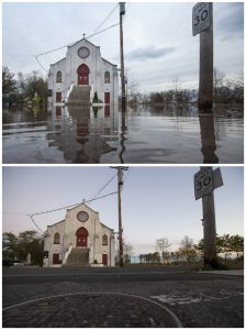 A photo shows a Our Lady of Lourdes Church, New Dorp Beach, standing above a flooded street in October 2012 during Hurricane Sandy and the same church in late October.