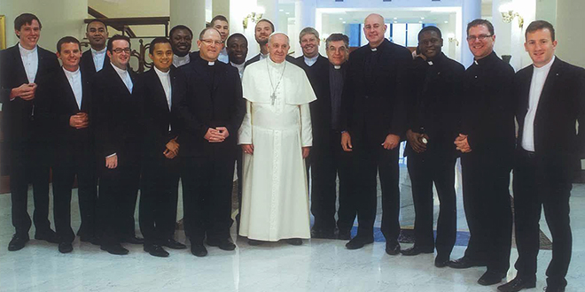 Holy Spirit Provincial Seminary staff and seminarians meeting Pope Francis on December 23.