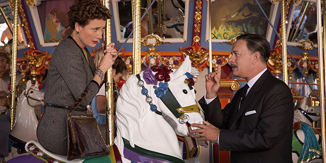 PL Travers (Emma Thompson) and Walt Disney (Tom Hanks) are poles apart in their opinions inDisney's Saving Mr Banks.
