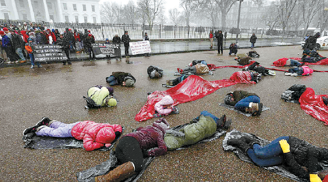 Pro-life activists lay down in the cold