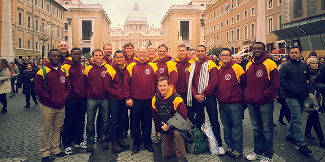 Holy Spirit Provincial Seminary students and faculty in Rome after attending Mass and meeting Pope Francis in December.