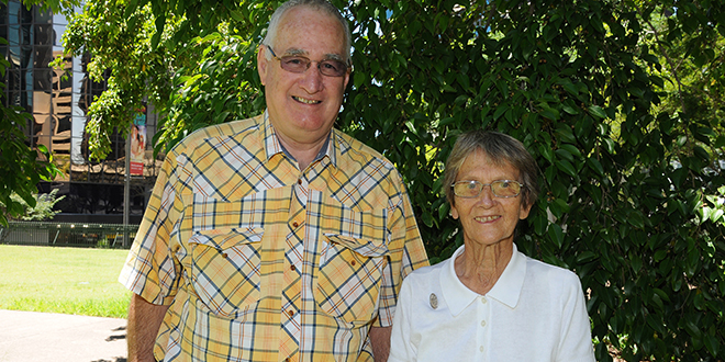 Helping hand: Bracken Ridge parishioner Terry 	Tolhurst and Our Lady of the Sacred Heart Sister Rita Grunke during her recent visit to Australia. Photo: Robin Williams