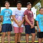 Gabriel Guillaume of St Mary's Upper Coomera and Michael Greathead, Ryan Nicdao, David Greathead, and Brandon McMorrow from Banyo-Nundah parish enjoyed meeting new people and growing in their commitment to serving the Lord at the altar.