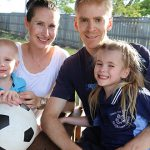 Tony and Eleanor Angwin with children Nathaniel and Arielle. Arielle will start school this week at Christ the King Primary School, Graceville.