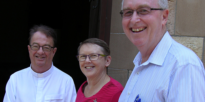 Brisbane archdiocese's vicar general Monsignor Peter Meneely, Mission team leader Ursuline Sister Kari Hatherell and interim formation team leader Mike Humphrys