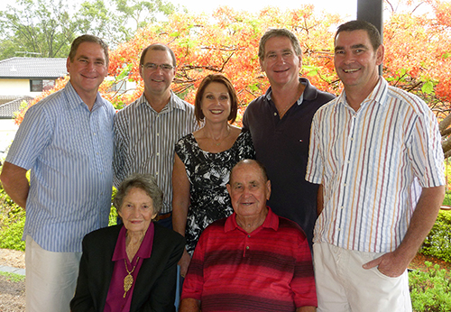 Diamond anniversary:  Marie and Rodney Stower, front, with their children, back from left, Peter, John, Julie, Mark and Michael.