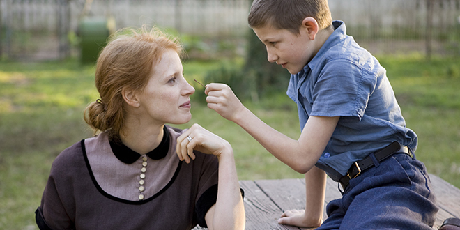 Jessica Chastain and Tye Sheridan star in a scene from the movie The Tree of Life.