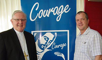 Courage supporters: Brisbane Archbishop Mark Coleridge and Courage chaplain Fr Bob Harwood.