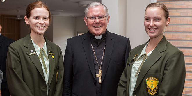 School leaders: Archbishop Mark Coleridge with Our Lady's College captain Emilia Kurylewska (left) and vice-captain Taylor-Anne Green at the college's golden jubilee celebrations. Photos: Alan Edgecomb