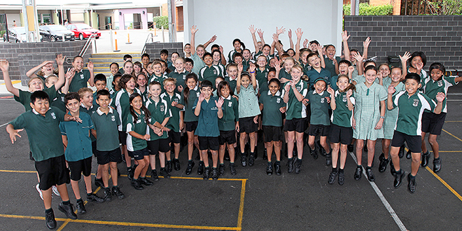 Leaders: Years 6 and 7 students at St Ita's School are excited and delighted to be back at school.