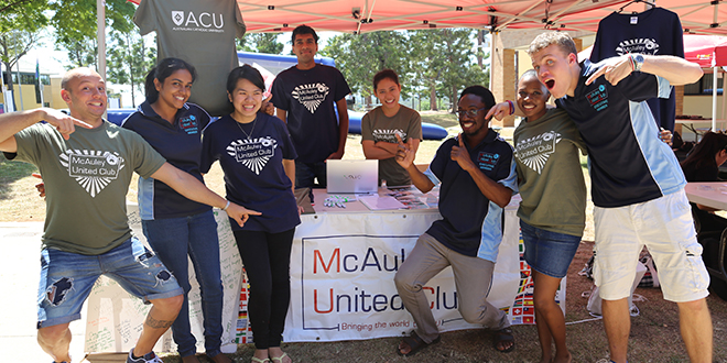 Student support: Members of the McAuley United Club, which offers support to international students, during orientation week at Brisbane Australian Catholic University campus. Photo: Veronica Kopinski