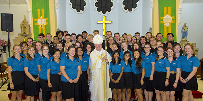 Into the deep: Archbishop Mark Coleridge with the newly commissioned members of the National Evangelisation Teams at Sacred Heart Church, Rosalie, on February 21.