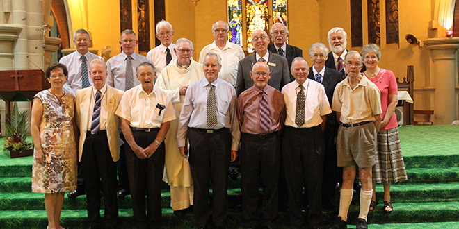 End of an era: Christian Brother Mick Bible (front row, third from right) after his farewell Mass which was attended by about 20 from his congregation including Oceania provincial Br Vince Duggan.